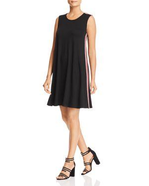 Robert Michaels Varsity Stripe Tank Dress in Black