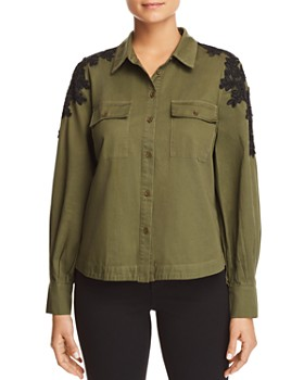 Marled - Lace-Shoulder Military Top