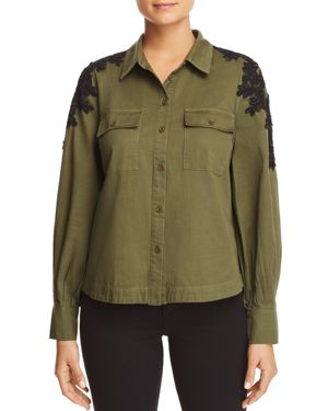 Marled Lace-Shoulder Military Top
