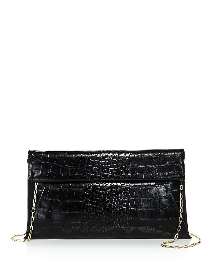 Aqua Medium Croc-embossed Foldover Crossbody Clutch - 100% Exclusive In Black/gold