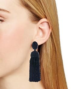 Oscar de la Renta - Beaded Silk Tassel Clip-On Earrings