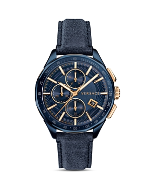 Versace Collection Glaze Blue Leather Watch, 44mm