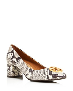 Tory Burch - Women's Chelsea Round Toe Snakeskin-Embossed Leather Pumps