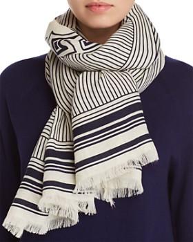 Tory Burch - Fine Lines Logo Wool Oblong Scarf
