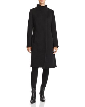 CINZIA ROCCA Wool & Cashmere Hidden Snap Coat in Black