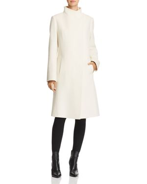 CINZIA ROCCA Wool & Cashmere Hidden Snap Coat in Winter White