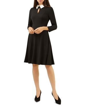 HOBBS LONDON NICOLA COLLARED FIT-AND-FLARE DRESS