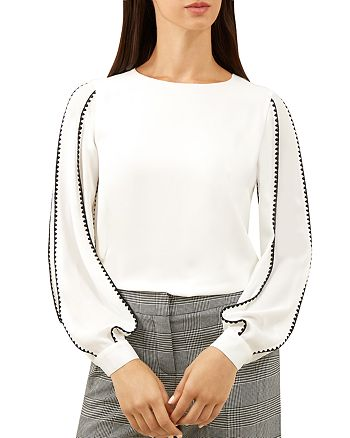 HOBBS LONDON - Gina Embroidered Bishop Sleeve Top