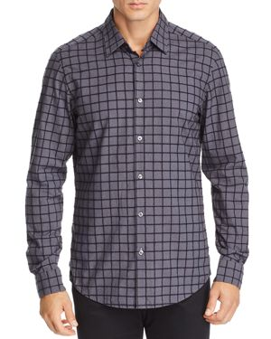 BOSS LUKAS TEXTURED GRID-PATTERN REGULAR FIT SHIRT