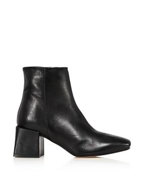 LoQ - Women's Lazaro Almond Toe Leather Mid-Heel Booties