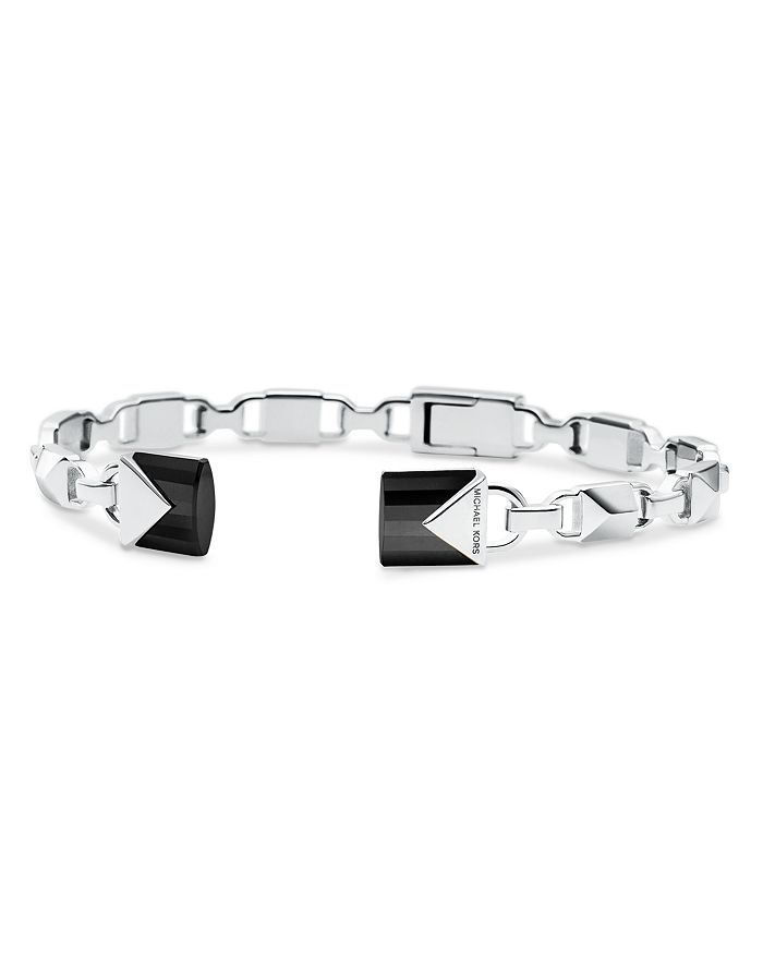 Michael Kors Mercer Link Semi-Precious Sterling Silver Center Back Hinged Cuff In Silver/Black