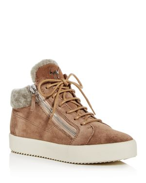 Giuseppe May London Mid-Rise Lace-Up Genuine Shearling Sneaker in Neutrals