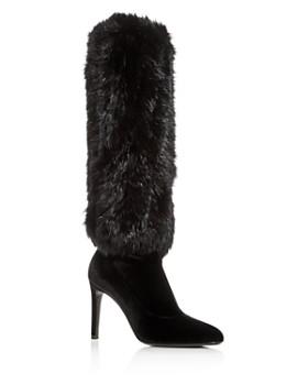 9d1f7b1a757 Giuseppe Zanotti - Women s Rabbit Fur   Velvet Pointed Toe Boots ...