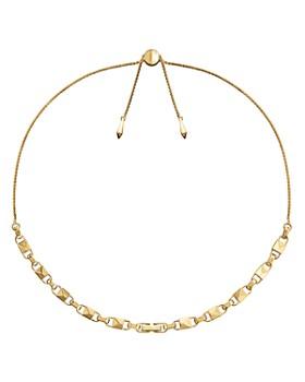 """Michael Kors - Mercer Link Sterling Silver Slider Necklace in 14K Gold-Plated Sterling Silver, 14K Rose Gold-Plated Sterling Silver or Solid Sterling Silver, 16"""""""