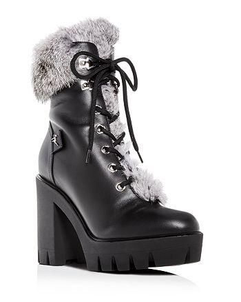 ebb6654ba7c86 Giuseppe Zanotti - Women's Gintonic Leather & Rabbit Fur Block-Heel Platform  Combat Boots