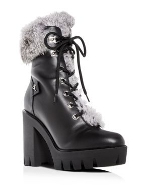 Women'S Gintonic Leather & Rabbit Fur Block-Heel Platform Combat Boots in Black