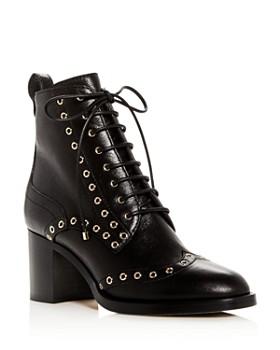 a30e3a2b1a3 Jimmy Choo - Women s Hanah 65 Leather Wingtip Block-Heel Booties ...