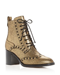 Jimmy Choo - Women's Hanah 65 Leather Wingtip Block-Heel Booties