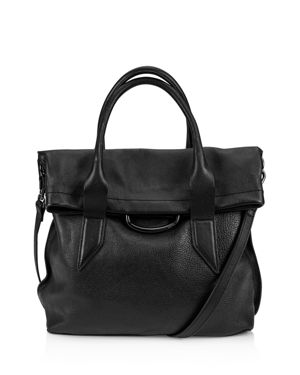 KOOBA Montreal Medium Leather Satchel in Black/Gunmetal