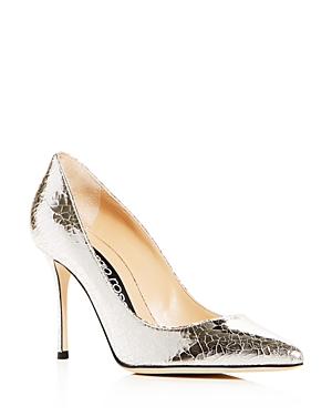 Sergio Rossi Women's Crackled Leather Pointed Toe Pumps