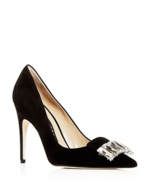 Sergio Rossi Women's Embellished Suede Pointed Toe Pumps