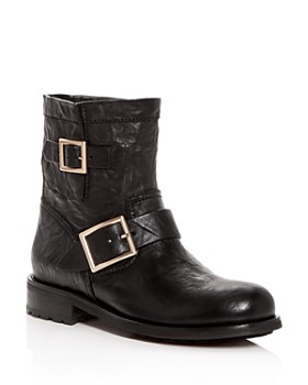 Jimmy Choo - Women's Youth Leather Moto Boots