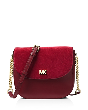 Michael Michael Kors Half Dome Medium Leather & Suede Crossbody