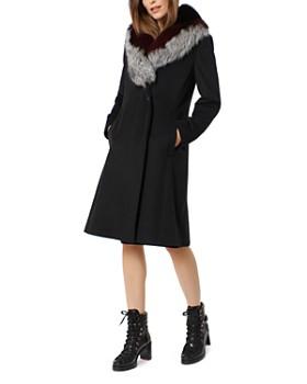 One Madison - Fox Fur Trim Grommet Belted Coat
