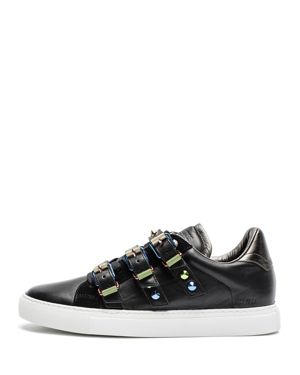WOMEN'S ZV1747 METAL BUCKLED LEATHER SNEAKERS