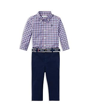 Ralph Lauren Boys Plaid Shirt  Belted Chinos Set  Baby