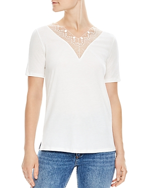Sandro Coquelicot Lace-Inset Top