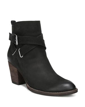 Sam Edelman Women's Morris Almond Toe Leather Mid-Heel Booties