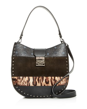 MCM - Patricia Leopard Mixed Media Medium Hobo