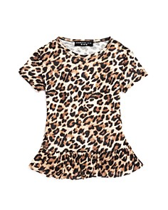 Generation Love - Girls' Leopard-Print Ruffled Linen Tee - Little Kid, Big Kid