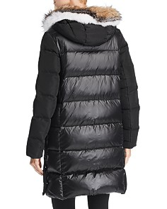 Derek Lam 10 Crosby - Hooded Fox Fur Trim Mixed Media Down Coat