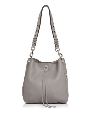 Small Darren Deerskin Leather Feed Bag - Grey, Gray/Silver