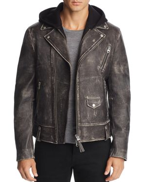 MACKAGE MAGNUS HOODED LEATHER MOTORCYCLE JACKET