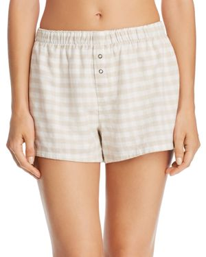 Lazy Days Gingham Cotton Twill Pj Shorts, Champagne