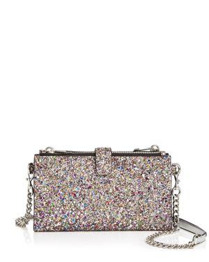 Rebecca Minkoff Medium Glitter Leather Chain Wallet Crossbody 3081705