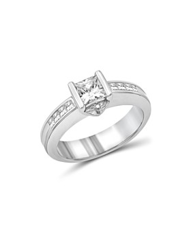 Love and Pride - 14K White Gold Princess & Trillion Engagement Ring