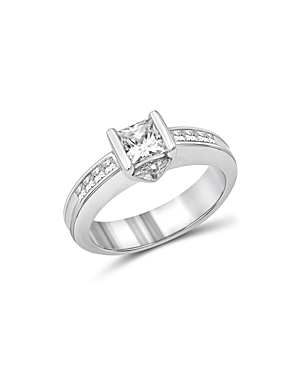 Love and Pride 14K White Gold Princess & Trillion Engagement Ring