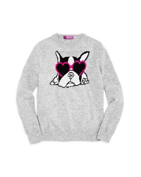 AQUA - Girls' French Bulldog Cashmere Sweater, Big Kid - 100% Exclusive