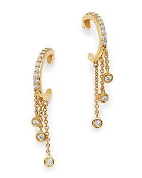 Bloomingdale's - Diamond J Hoop Dangle Earrings in 14K Yellow Gold, 0.20 ct. t.w. - 100% Exclusive