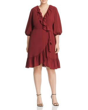 Adrianna Papell Plus Ruffled Faux-Wrap Dress