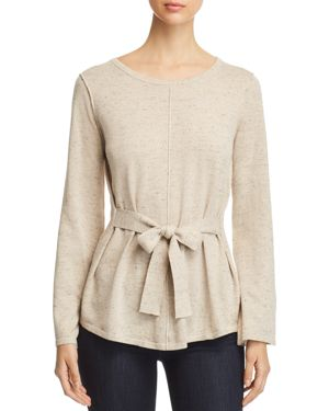 HEATHER B Belted Sweater in Heather Oatmeal