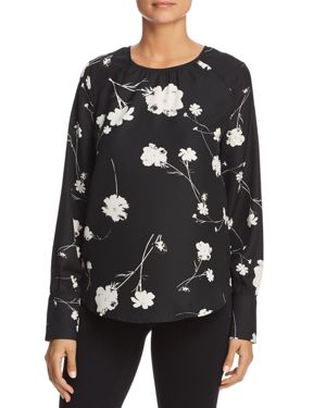VERO MODA Zitta Floral Print Top in Black