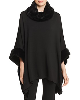 Capote - Faux-Fur Trimmed Poncho