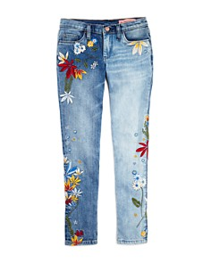 BLANKNYC - Girls' Floral-Embroidered Skinny Jeans - Little Kid