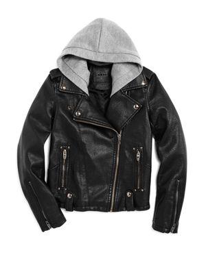 Blanknyc Girls' Moto Jacket With Knit Hood - Big Kid