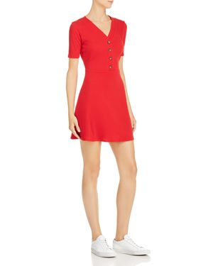 SADIE & SAGE Rib-Knit Fit-And-Flare Dress in Red